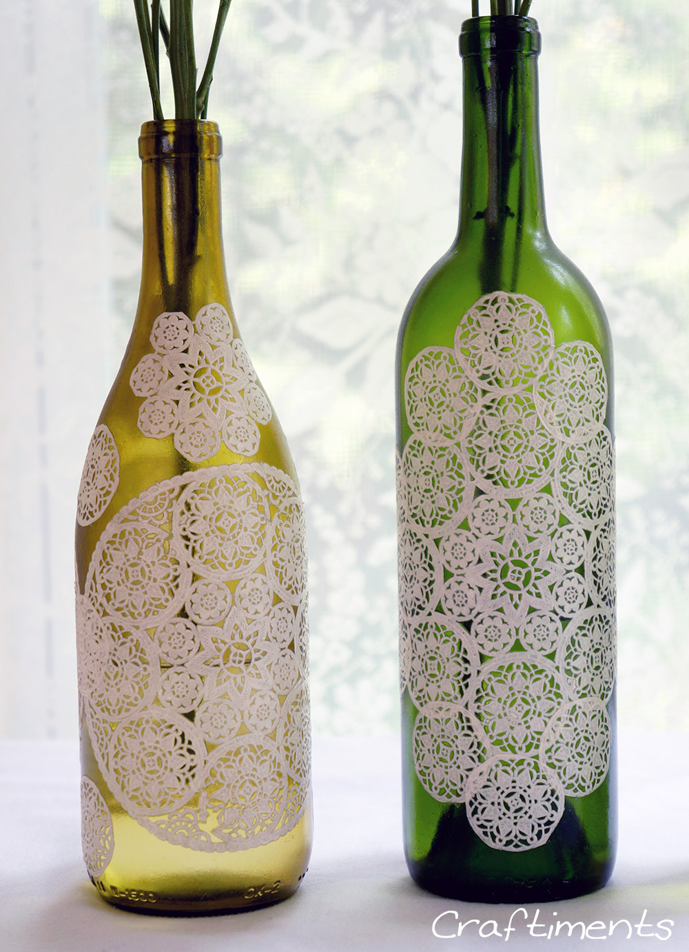 Craftiments Paper Doily Decoupaged Bottle Tutorial