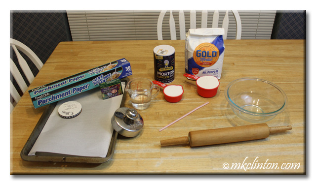 Ingredients for salt dough paw print keepsakes. Salt, flour, water, etc.