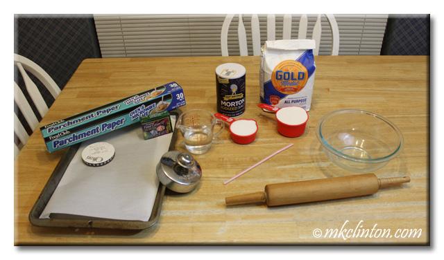 Ingredients for salt dough paw print keepsakes. Salt, flour, water, etc.