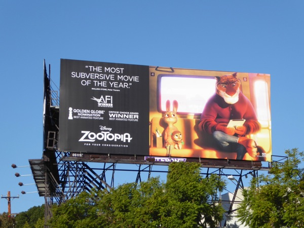 Disney Zootopia awards consideration billboard