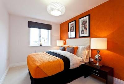 cat dinding kamar 2 putih dan orange
