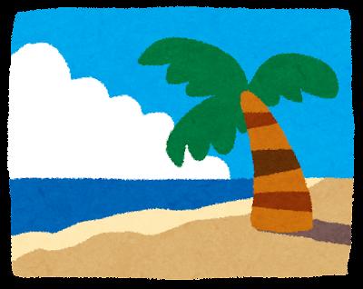 海のイラスト「ヤシの木とビーチ」