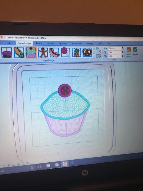 Cupcake applique from Premier +2 Embroidery Ultra Software
