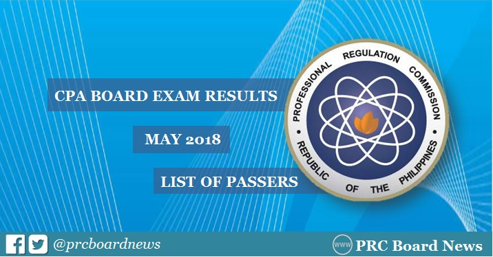 OFFICIAL RESULTS: May 2018 CPA board exam list of passers