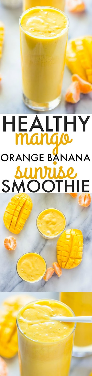 Healthy Mango Orange Banana Sunrise Smoothie
