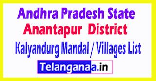 Kalyandurg Mandal Villages Codes Anantapur District Andhra Pradesh State India