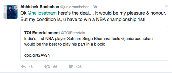 Abhishek Bachchan promises to act in Satnam Singh Bhamara's Biopic for free!