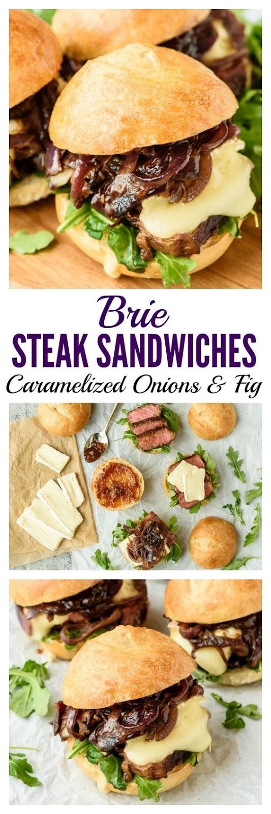 Mini Steak Sandwich with Brie, Caramelized Onions, and Fig Jam