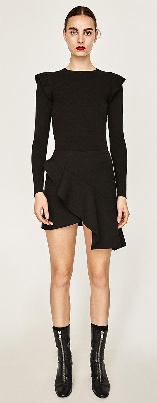 Jupe courte femme noire asymétrique à volants Zara
