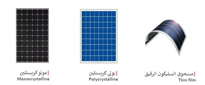 انواع الخلايا والالواح الشمسية