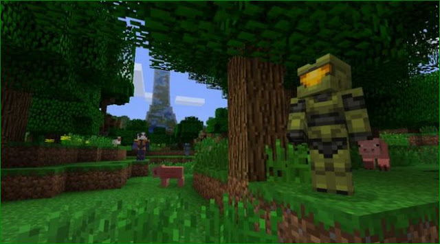 Master Chief as a Minecraft creation halo