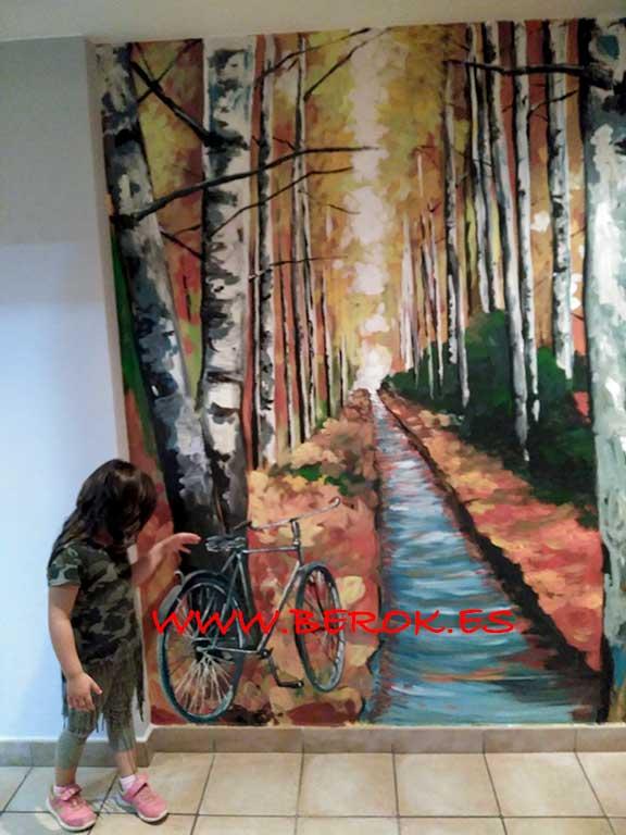 Mural árbol otoño impresionista