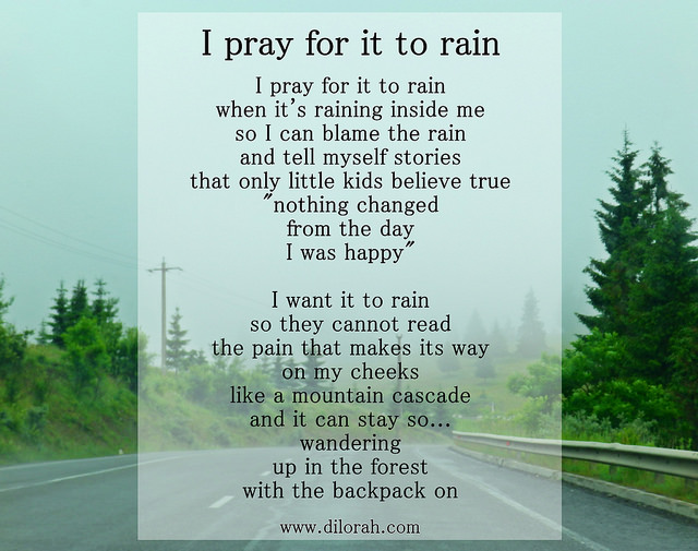 Poem about rain, sufferin, loneliness.