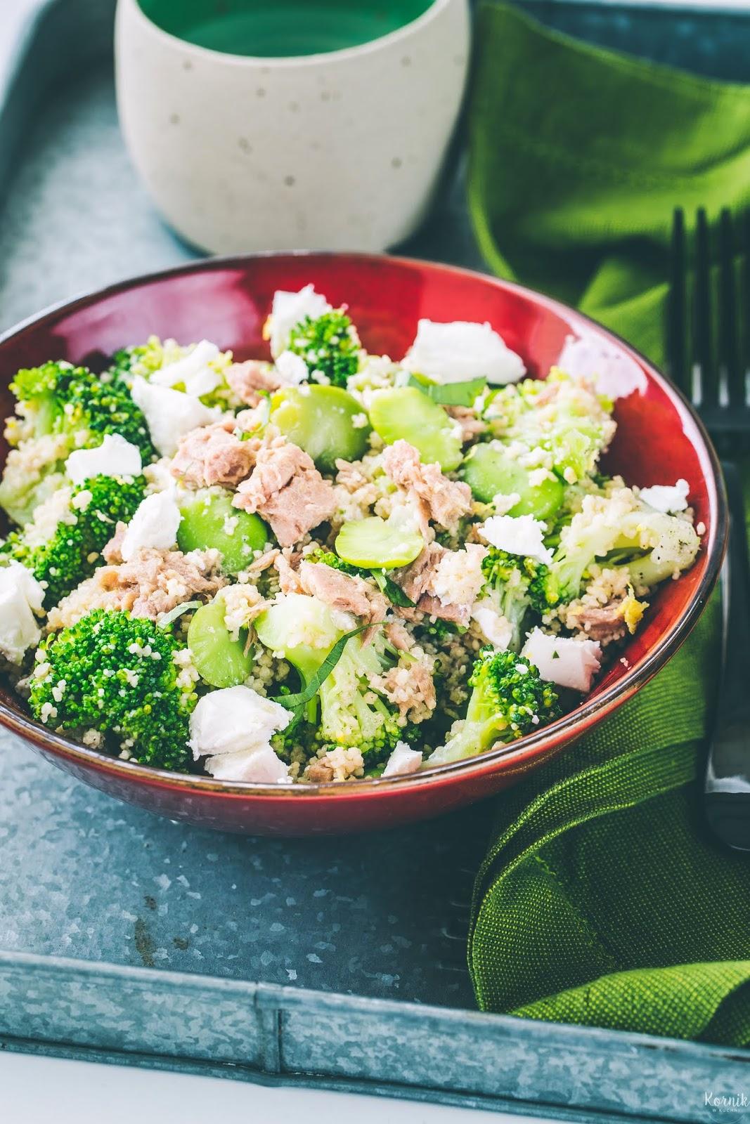 Sałatka z bobu, tuńczyka i brokuła