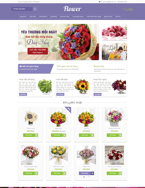 Template blogspot bán hàng Flower Shop