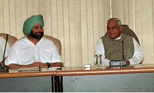 Punjab Cheif Minister Captain Amarinder Singh With Former Prime Minister Shri Atal Bihari Vajpayee Photos Pics Image Wallpapers