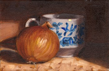 Oil painting of a brown onion beside a willow pattern teacup.