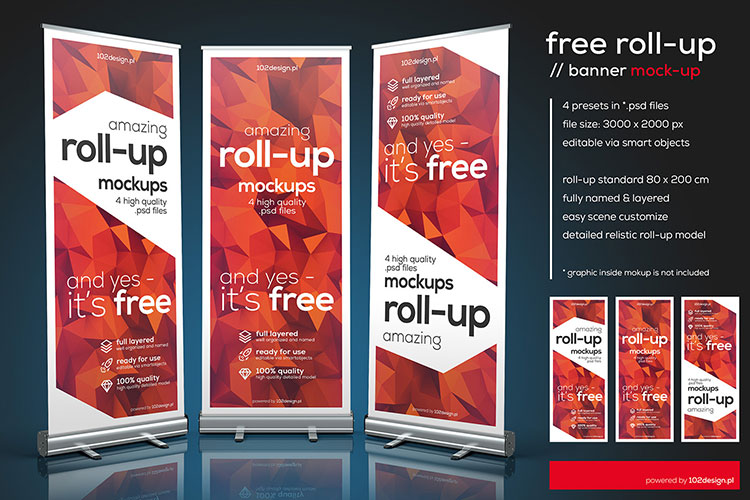 Free PSD Roll-up mockup