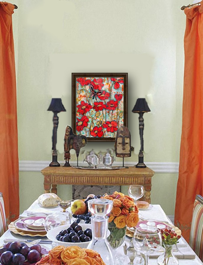 collect dining room wall decor from https://www.etsy.com/listing/64542206/original-red-poppy-painting-16x20 red poppy art with coral butterfly