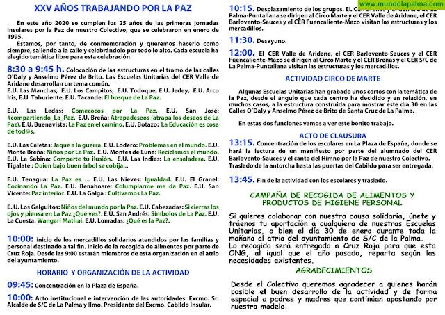Escuelas Unitarias de La Palma. XXV años trabajando por la paz 30 de enero, en Santa Cruz de La Palma, desde las 8:30 horas