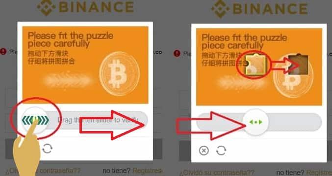 cómo iniciar sesión Binance Puzzle Captcha