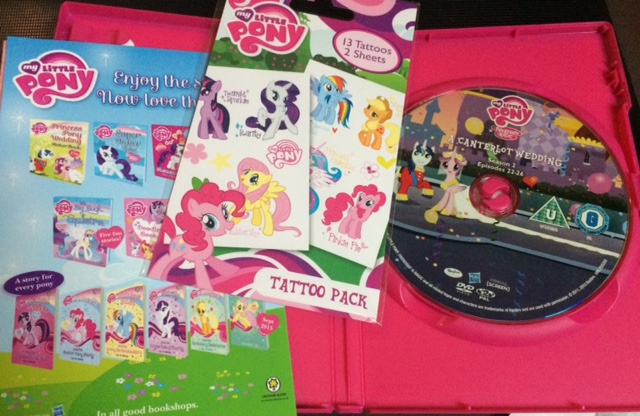 My Little Pony: A Canterlot Wedding DVD with free MLP tattoos