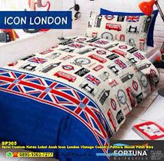 Sprei Custom Katun Lokal Anak Icon London Vintage Country Pattern Merah Putih Biru