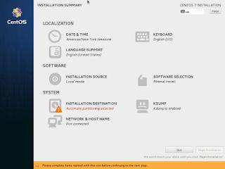 CentOS7 Installation Summary Screenshot