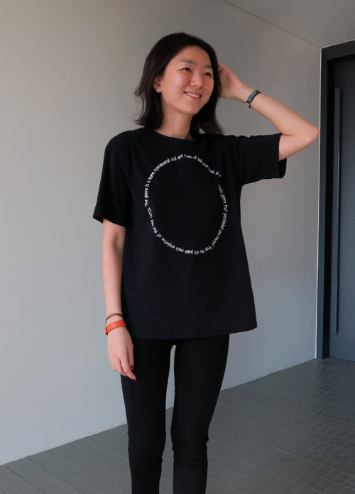 Embroidered Qoute in Circle T-Shirt