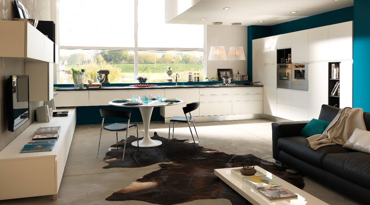 Soggiorno cucina open space living con angolo cottura