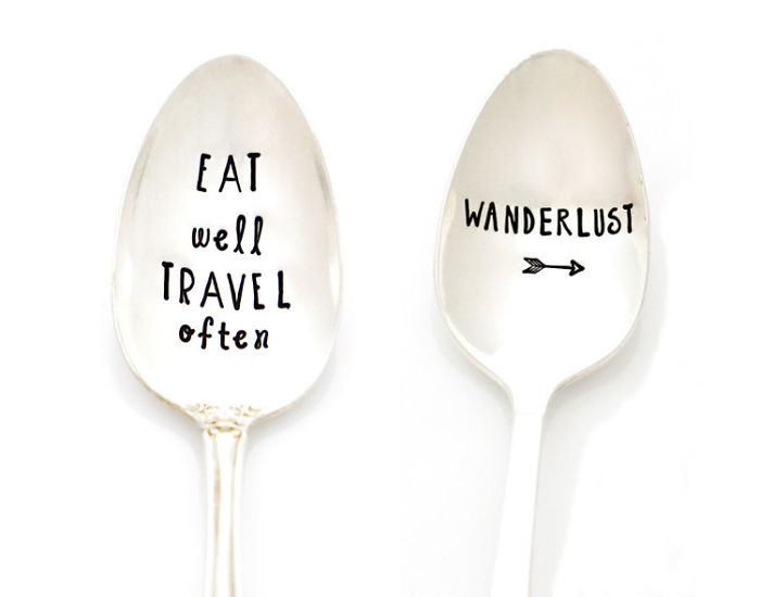 15+ Of The Best Traveler Gift Ideas Besides Actual Plane Tickets - Stamped Spoon For Coffee, Tea, And Adventures