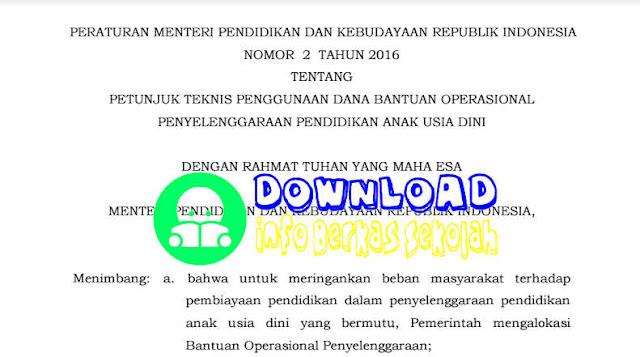 Permendikbud No 2 Tahun 2016 Tentang Penggunaan Dana BOP DAK PAUD
