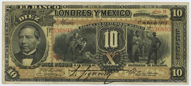Mexico: EL BANCO LONDRES Y MEXICO 10 PESOS banknote