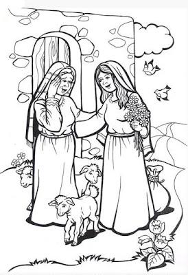 Compartiendo por amor: Dibujos María visita a su prima Isabel