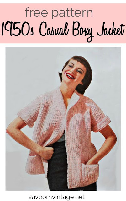 The Vintage Pattern Files - Free 1950s Knitting Pattern - Casual Boxy Jacket