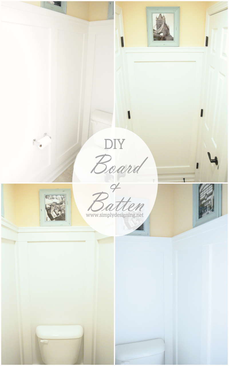DIY Board and Batten | how to create your own board and batten simply WITHOUT replacing your baseboards! - PIN for later! | #diy #bathroom #remodel #thehomedepot #3MPartner
