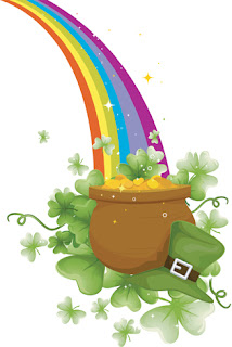 Clipart image of a pot of gold at the end of a rainbow for St. Patrick's Day