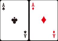 플레이어의 처음 두 장의 카드가 같은 숫자인 경우에는 두장의 카드를 나누어서 각각 베팅하여 게임을 진행 할 수 있습니다. 이때 베팅금액은 최초 베팅액과 동일한 금액이어야 한다.