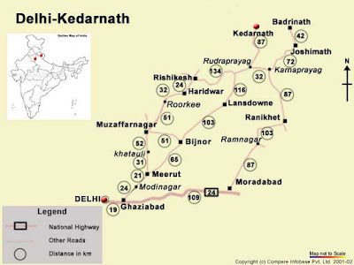 Kedarnath Temple Map