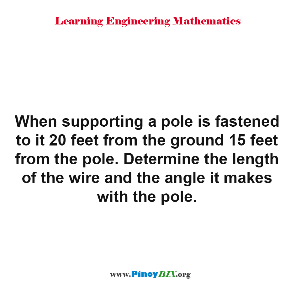 Determine the length of the wire and the angle it makes with the pole