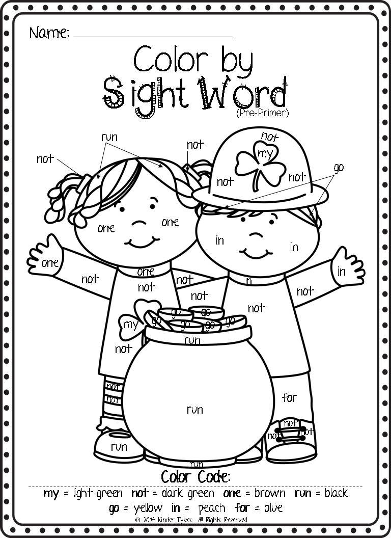 Kinder tykes march madness for Color word coloring pages