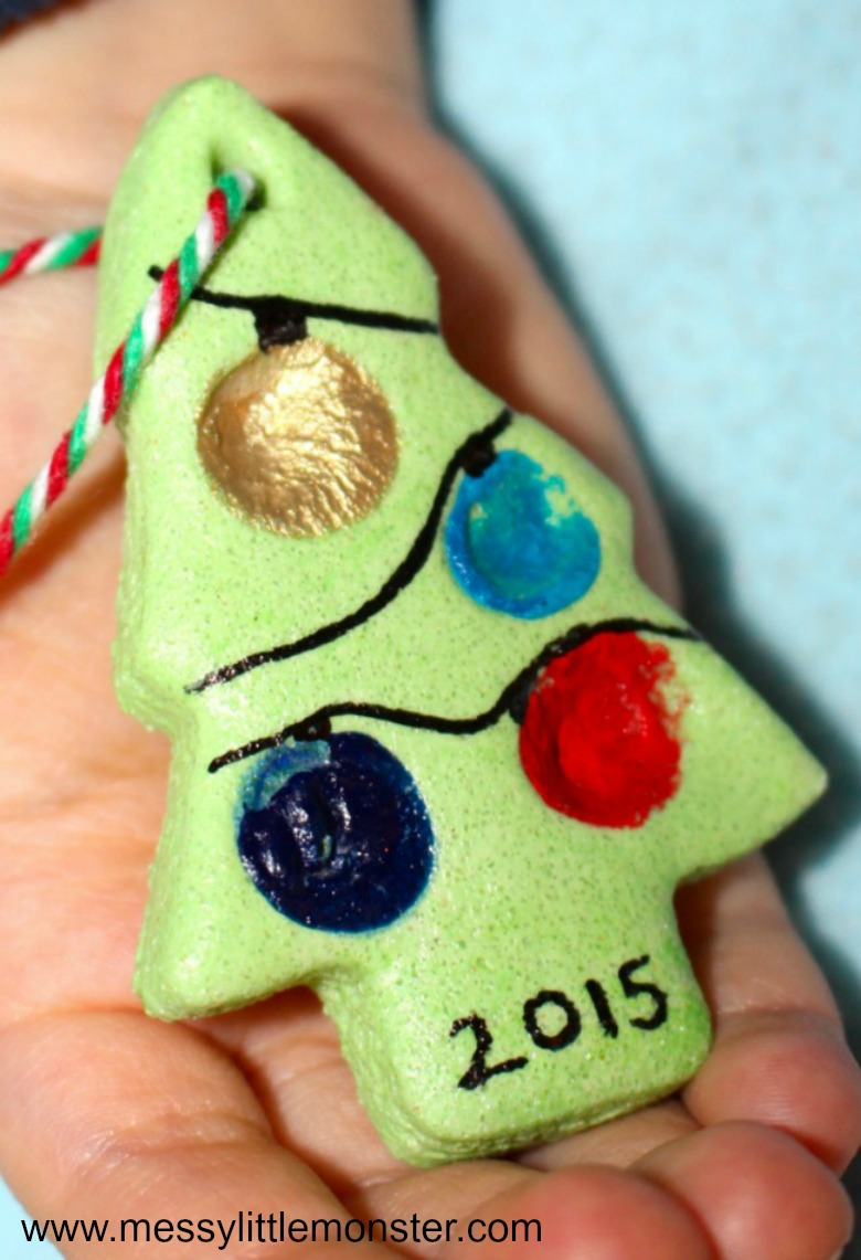 salt dough ornaments - fingerprint salt dough ornaments - christmas tree craft