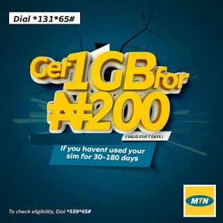 Get MTN 1GB For N200, Valid For 7 Days
