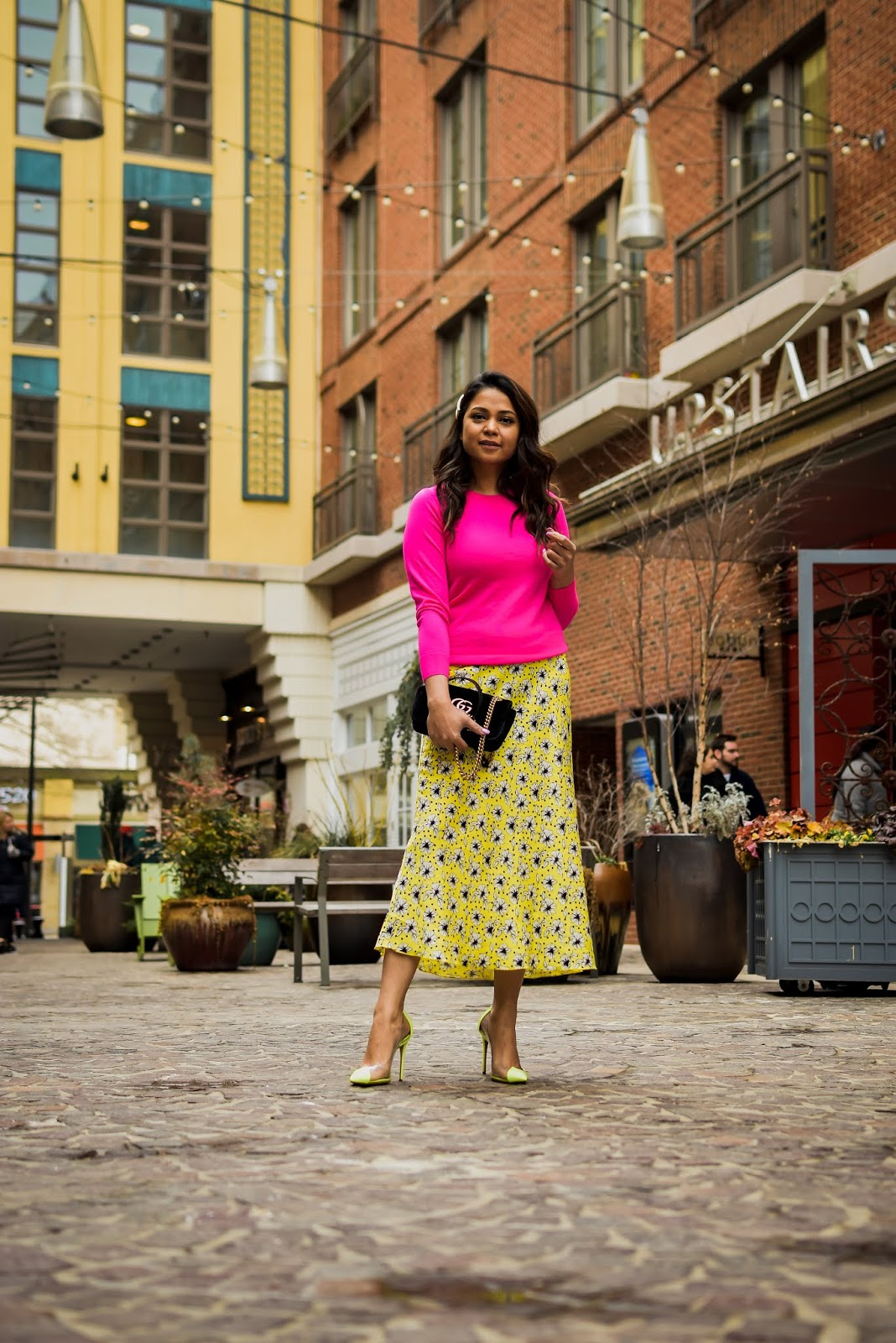 neon trend, how to wera neon this spring summer, zara floral slip skirt, yellow skirt, neon sweater, neon schutz vinyl pump, bethesda row, fashion, style, myriad musings, saumya shiohare
