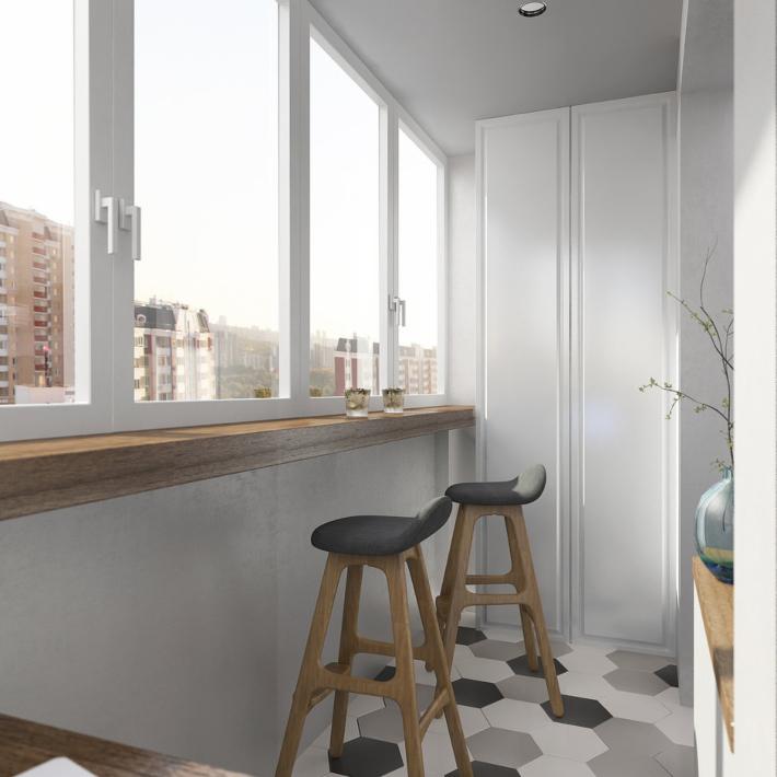 Proyecto 3d para un mini apartamento con dormitorio independiente