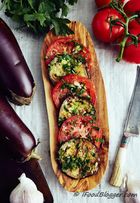 Marinated Eggplants and Tomatoes from i Food Blogger, featured for Low-Carb Recipe Love on Fridays  on KalynsKitchen.com