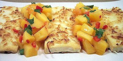 Coconut-Crusted Tofu with Peach-Lemongrass Salsa , Weight Watchers Recipe , 8 Smart Points
