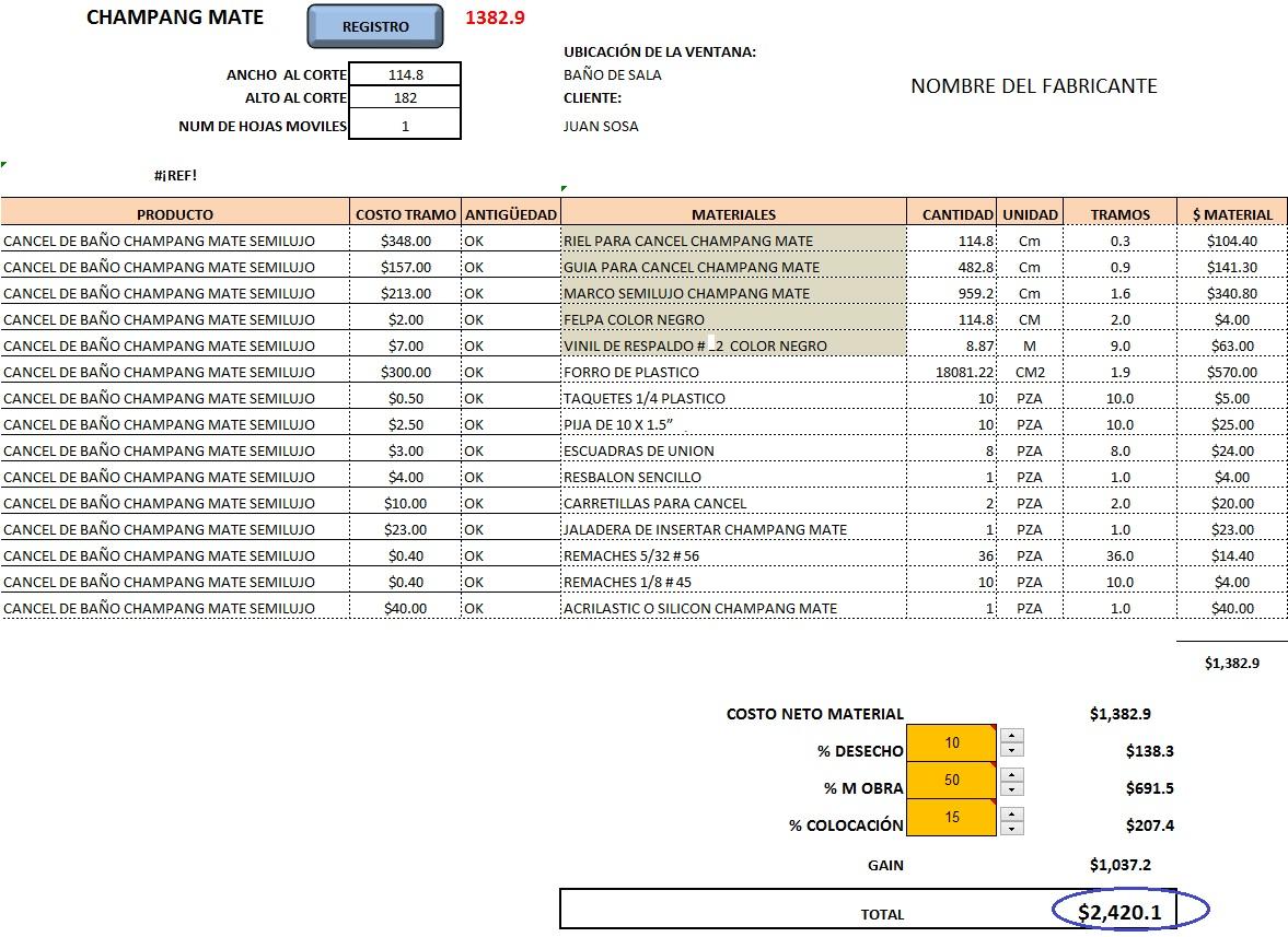 Excel para hacer ventanas y puertas de alumiinio - Presupuesto para hacer un bano ...