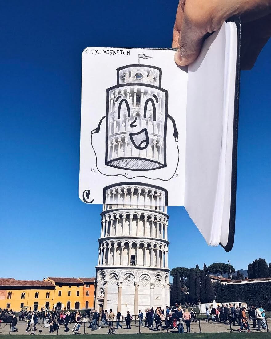 08-Leaning-Tower-of-Pisa-Pietro-Cataudella-3D-Architectural-Urban-Moleskine-Sketches-www-designstack-co