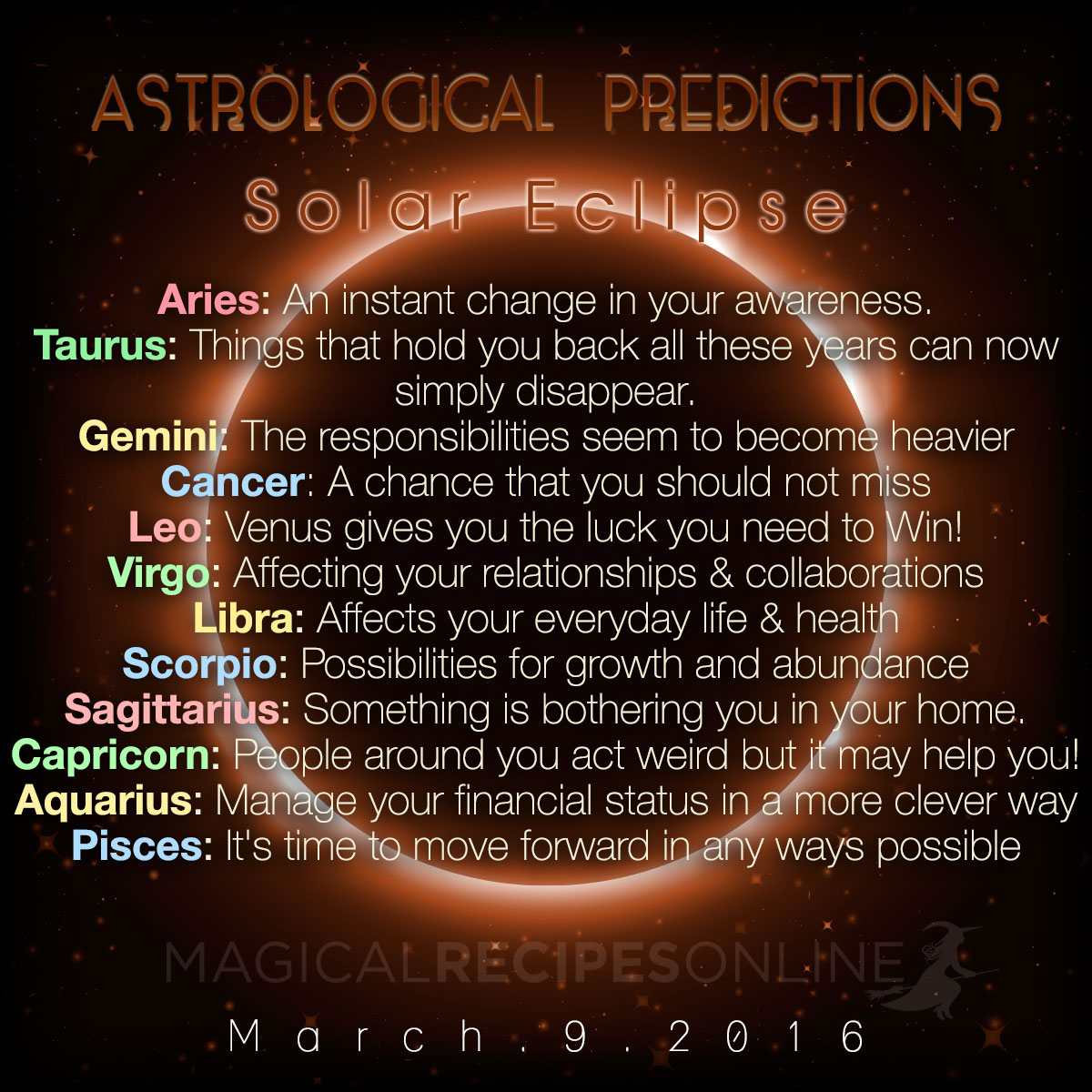 Astrological Predictions: New Moon - Solar Eclipse, Match ...